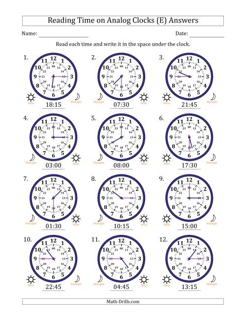 The Reading Time on 24 Hour Analog Clocks in Quarter Hour Intervals (E) Math Worksheet Page 2