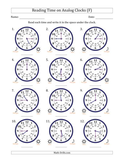 The Reading Time on 24 Hour Analog Clocks in Quarter Hour Intervals (F) Math Worksheet