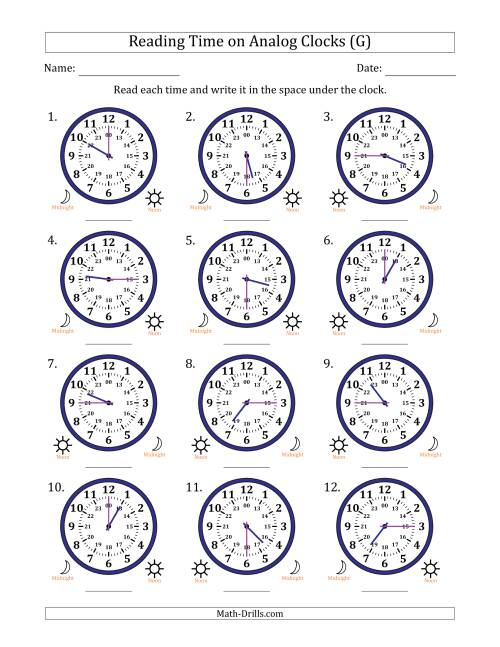 The Reading 24 Hour Time on Analog Clocks in 15 Minute Intervals (12 Clocks) (G) Math Worksheet