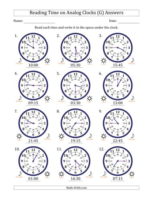 The Reading Time on 24 Hour Analog Clocks in Quarter Hour Intervals (G) Math Worksheet Page 2