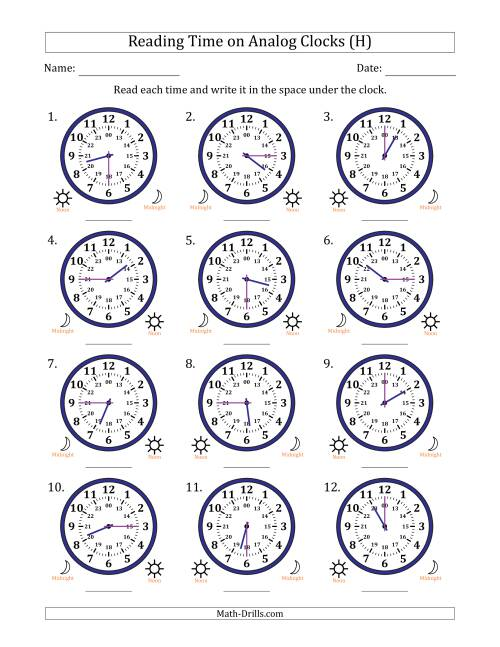 The Reading Time on 24 Hour Analog Clocks in Quarter Hour Intervals (H) Math Worksheet