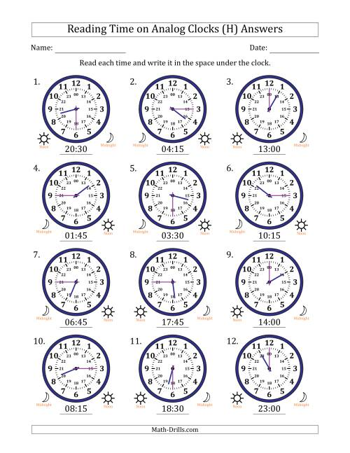 The Reading Time on 24 Hour Analog Clocks in Quarter Hour Intervals (H) Math Worksheet Page 2