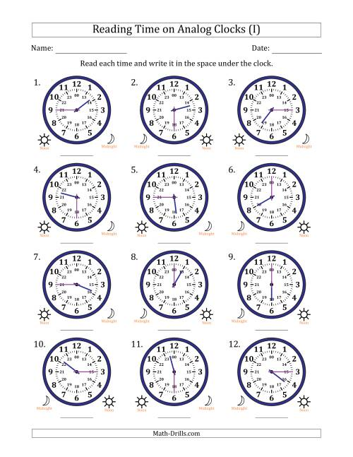 The Reading Time on 24 Hour Analog Clocks in Quarter Hour Intervals (I) Math Worksheet