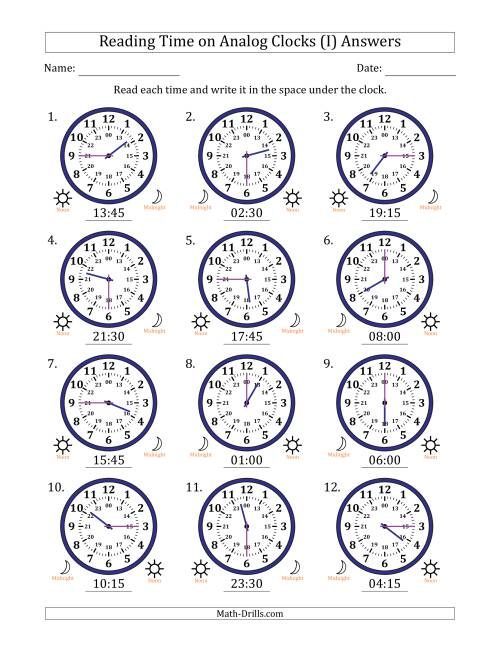 The Reading Time on 24 Hour Analog Clocks in Quarter Hour Intervals (I) Math Worksheet Page 2