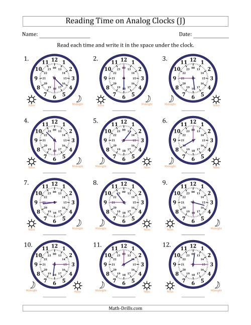 The Reading Time on 24 Hour Analog Clocks in Quarter Hour Intervals (J) Math Worksheet