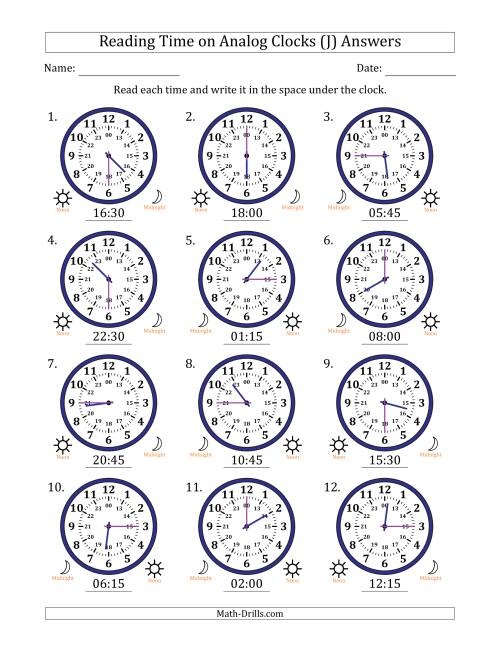The Reading Time on 24 Hour Analog Clocks in Quarter Hour Intervals (J) Math Worksheet Page 2