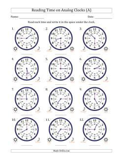 reading time on 24 hour analog clocks in quarter hour intervals all time worksheet. Black Bedroom Furniture Sets. Home Design Ideas