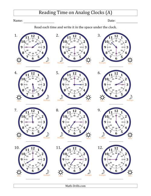The Reading Time on 24 Hour Analog Clocks in Quarter Hour Intervals (All) Math Worksheet
