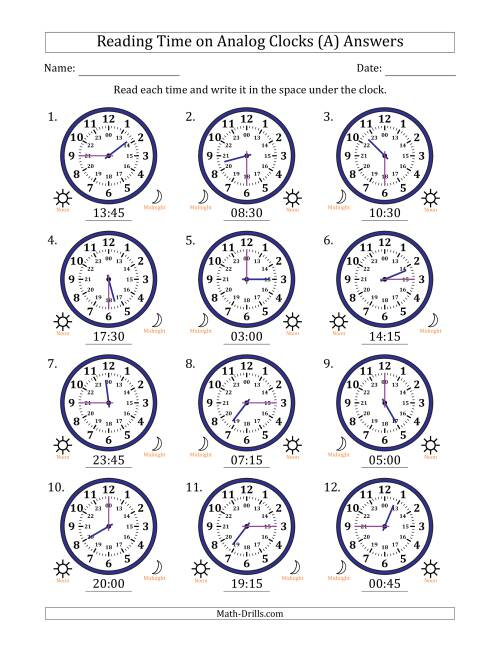 The Reading Time on 24 Hour Analog Clocks in Quarter Hour Intervals (All) Math Worksheet Page 2