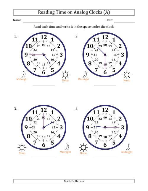 reading time on 24 hour analog clocks in 15 minute intervals large clocks a time worksheet. Black Bedroom Furniture Sets. Home Design Ideas