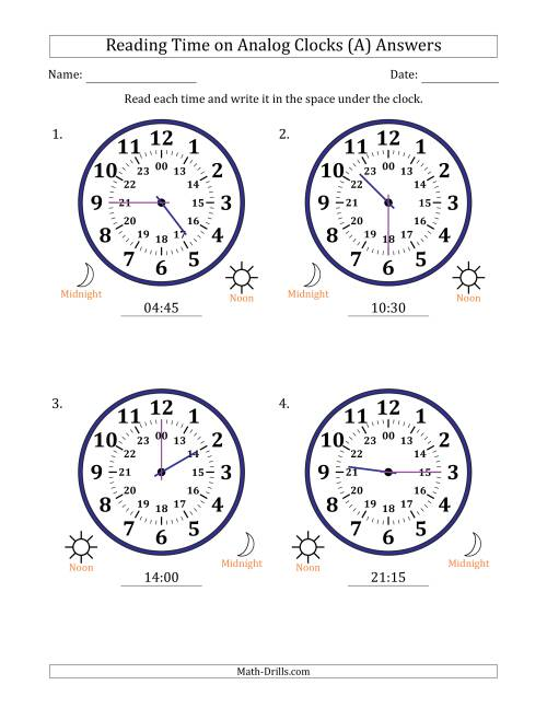 The Reading Time on 24 Hour Analog Clocks in 15 Minute Intervals (Large Clocks) (A) Math Worksheet Page 2