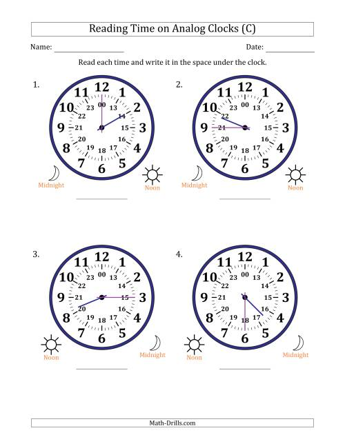 The Reading Time on 24 Hour Analog Clocks in 15 Minute Intervals (Large Clocks) (C) Math Worksheet