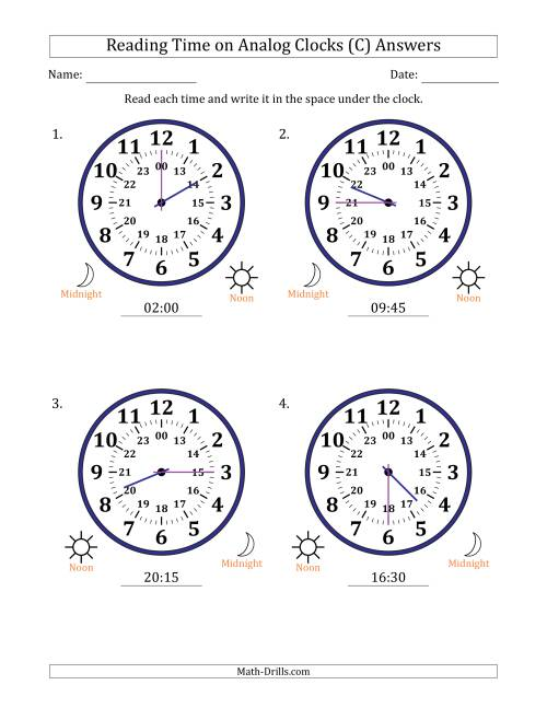 The Reading Time on 24 Hour Analog Clocks in 15 Minute Intervals (Large Clocks) (C) Math Worksheet Page 2