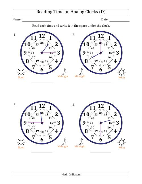 The Reading Time on 24 Hour Analog Clocks in 15 Minute Intervals (Large Clocks) (D) Math Worksheet