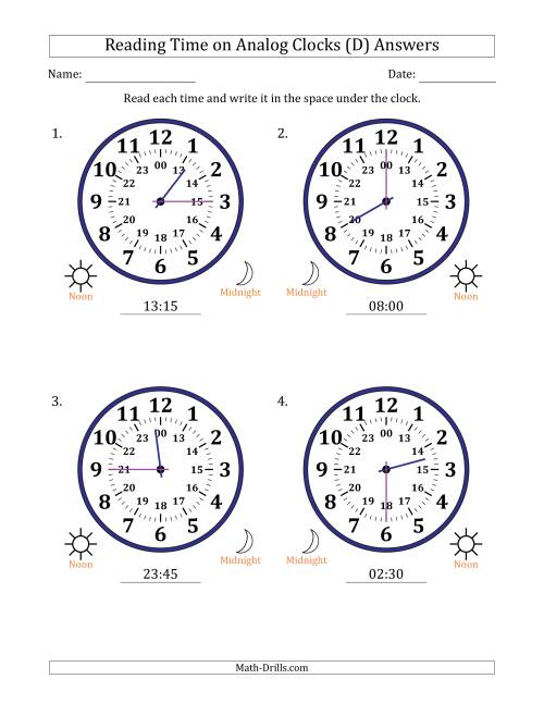 The Reading Time on 24 Hour Analog Clocks in 15 Minute Intervals (Large Clocks) (D) Math Worksheet Page 2
