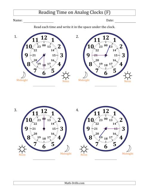 The Reading Time on 24 Hour Analog Clocks in 15 Minute Intervals (Large Clocks) (F) Math Worksheet