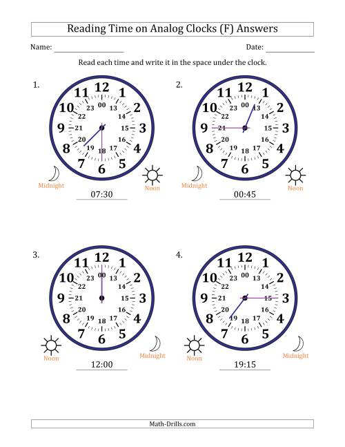 The Reading Time on 24 Hour Analog Clocks in 15 Minute Intervals (Large Clocks) (F) Math Worksheet Page 2