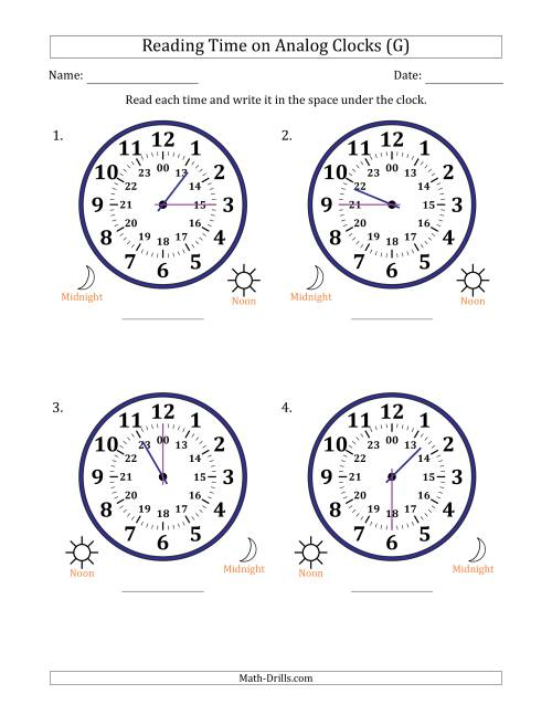 The Reading 24 Hour Time on Analog Clocks in 15 Minute Intervals (4 Large Clocks) (G) Math Worksheet