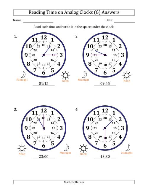 The Reading 24 Hour Time on Analog Clocks in 15 Minute Intervals (4 Large Clocks) (G) Math Worksheet Page 2