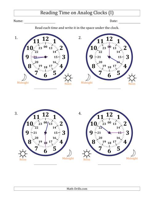 The Reading 24 Hour Time on Analog Clocks in 15 Minute Intervals (4 Large Clocks) (I) Math Worksheet