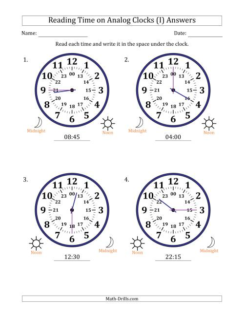 The Reading 24 Hour Time on Analog Clocks in 15 Minute Intervals (4 Large Clocks) (I) Math Worksheet Page 2