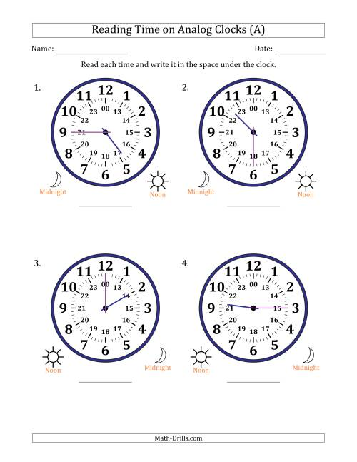 The Reading 24 Hour Time on Analog Clocks in 15 Minute Intervals (4 Large Clocks) (All) Math Worksheet