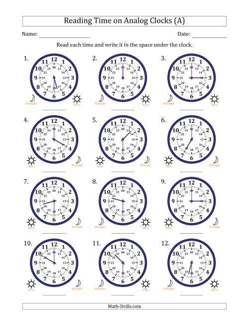 The Reading Time on 24 Hour Analog Clocks in Half Hour Intervals (A) Math Worksheet