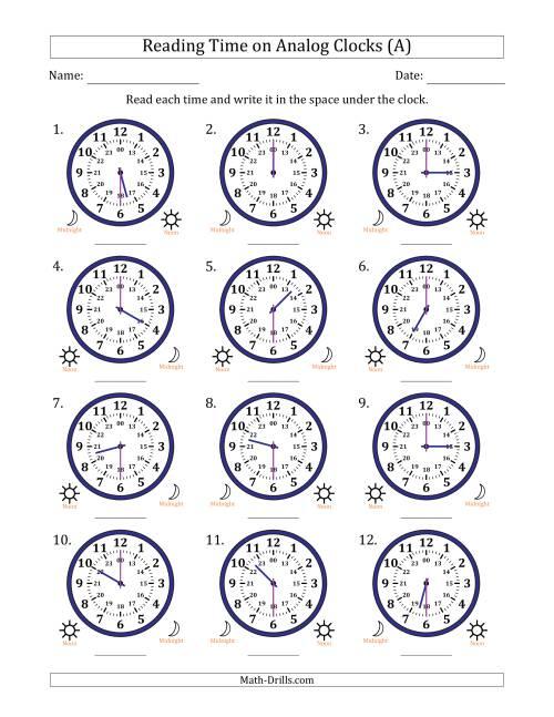 reading time on 24 hour analog clocks in half hour intervals a. Black Bedroom Furniture Sets. Home Design Ideas
