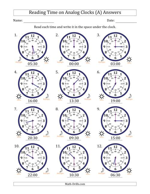 The Reading Time on 24 Hour Analog Clocks in Half Hour Intervals (A) Math Worksheet Page 2