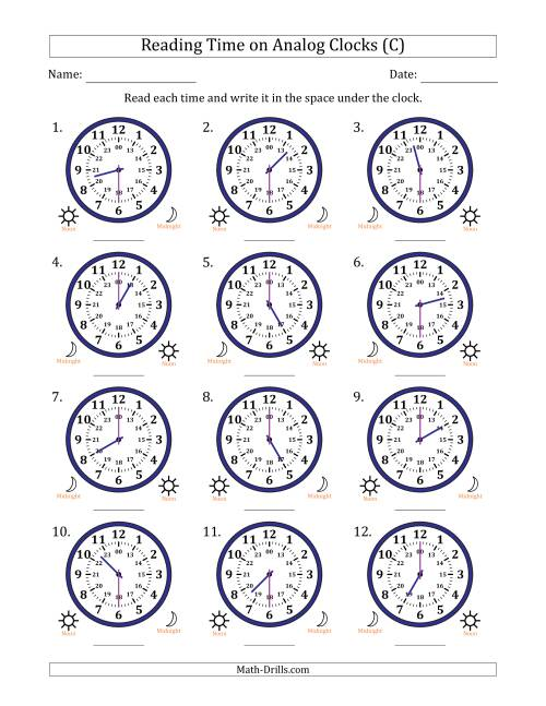 The Reading Time on 24 Hour Analog Clocks in Half Hour Intervals (C) Math Worksheet