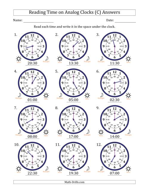 The Reading Time on 24 Hour Analog Clocks in Half Hour Intervals (C) Math Worksheet Page 2