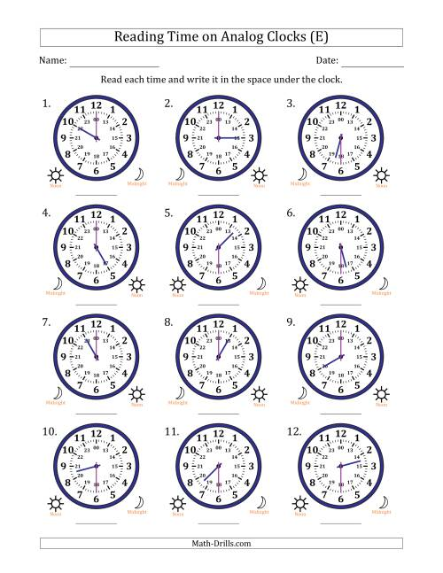 The Reading Time on 24 Hour Analog Clocks in Half Hour Intervals (E) Math Worksheet