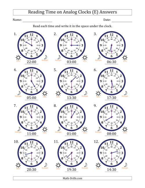 The Reading Time on 24 Hour Analog Clocks in Half Hour Intervals (E) Math Worksheet Page 2
