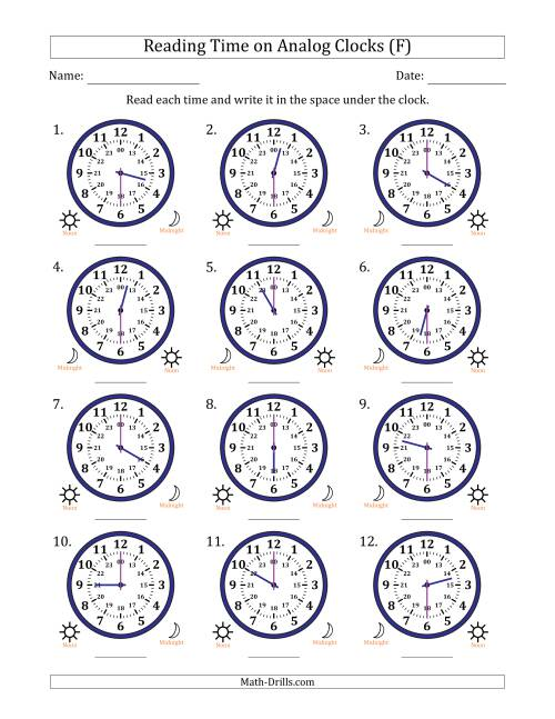 The Reading Time on 24 Hour Analog Clocks in Half Hour Intervals (F) Math Worksheet