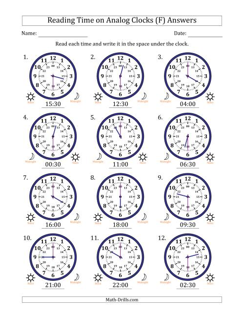 The Reading Time on 24 Hour Analog Clocks in Half Hour Intervals (F) Math Worksheet Page 2