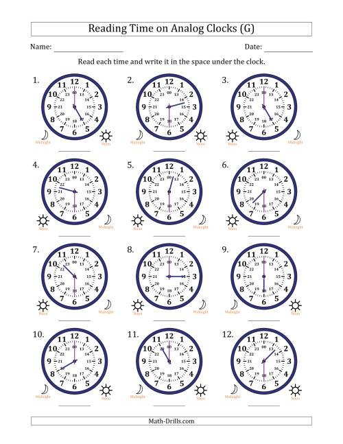 The Reading 24 Hour Time on Analog Clocks in 30 Minute Intervals (12 Clocks) (G) Math Worksheet