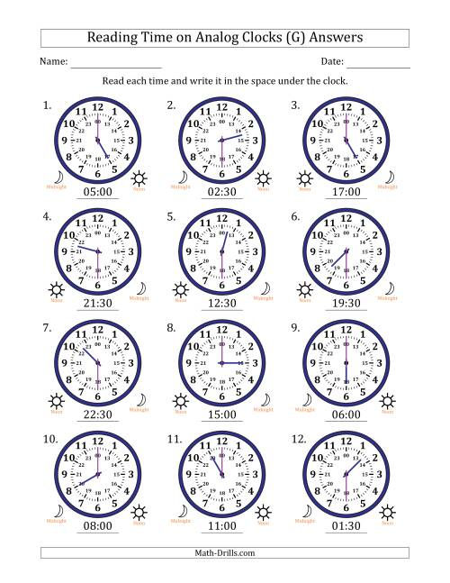 The Reading Time on 24 Hour Analog Clocks in Half Hour Intervals (G) Math Worksheet Page 2