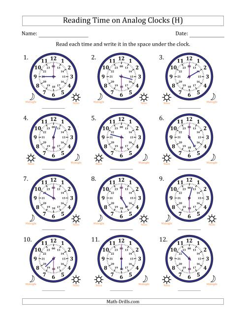 The Reading Time on 24 Hour Analog Clocks in Half Hour Intervals (H) Math Worksheet