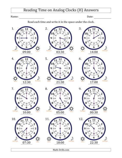 The Reading Time on 24 Hour Analog Clocks in Half Hour Intervals (H) Math Worksheet Page 2