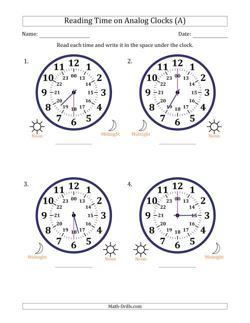 The Reading Time on 24 Hour Analog Clocks in Half Hour Intervals (Large Clocks) (A) Math Worksheet