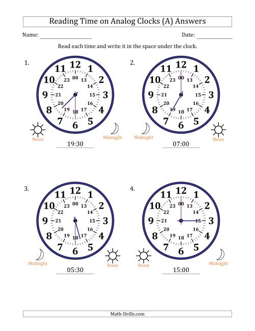 The Reading Time on 24 Hour Analog Clocks in Half Hour Intervals (Large Clocks) (A) Math Worksheet Page 2