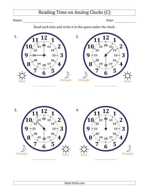 The Reading Time on 24 Hour Analog Clocks in Half Hour Intervals (Large Clocks) (C) Math Worksheet