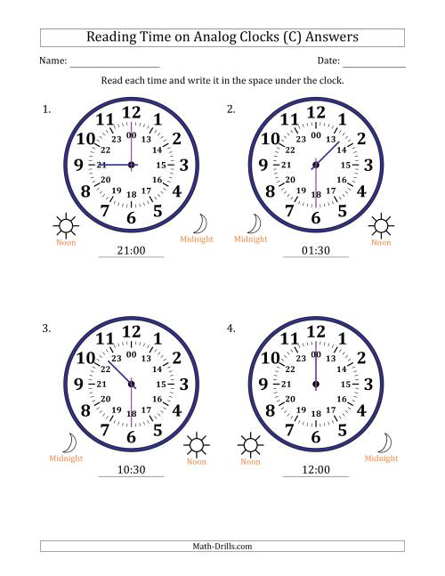 The Reading Time on 24 Hour Analog Clocks in Half Hour Intervals (Large Clocks) (C) Math Worksheet Page 2