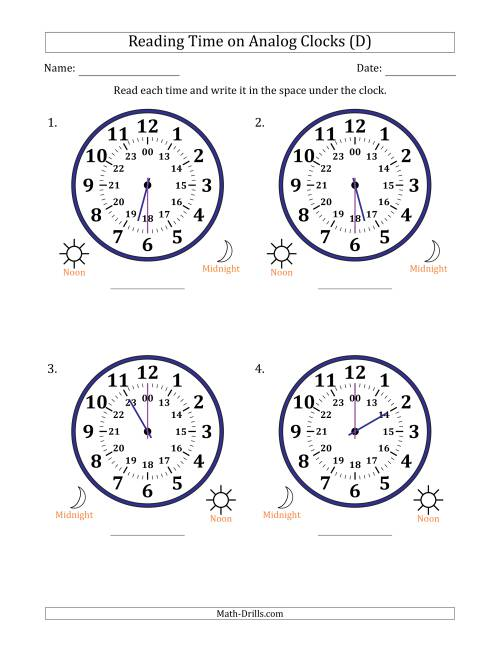 The Reading Time on 24 Hour Analog Clocks in Half Hour Intervals (Large Clocks) (D) Math Worksheet