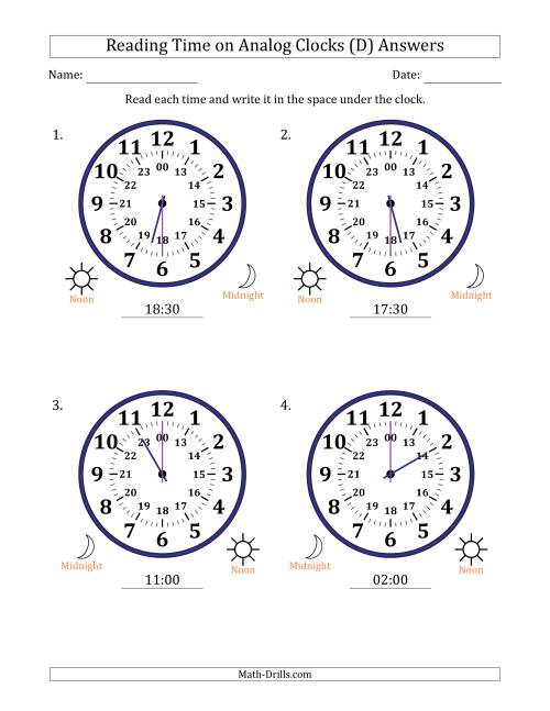 The Reading Time on 24 Hour Analog Clocks in Half Hour Intervals (Large Clocks) (D) Math Worksheet Page 2