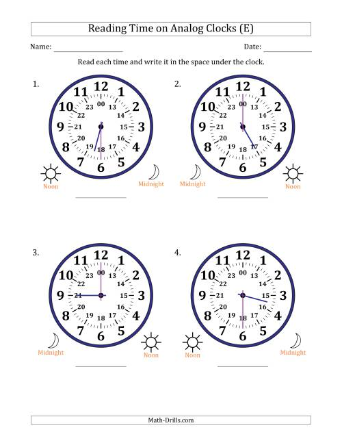 The Reading Time on 24 Hour Analog Clocks in Half Hour Intervals (Large Clocks) (E) Math Worksheet