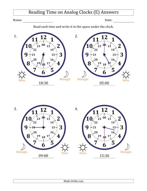 The Reading Time on 24 Hour Analog Clocks in Half Hour Intervals (Large Clocks) (E) Math Worksheet Page 2