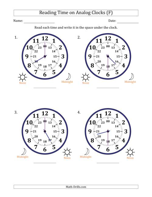 The Reading Time on 24 Hour Analog Clocks in Half Hour Intervals (Large Clocks) (F) Math Worksheet