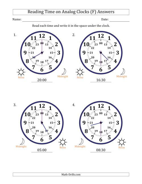 The Reading Time on 24 Hour Analog Clocks in Half Hour Intervals (Large Clocks) (F) Math Worksheet Page 2