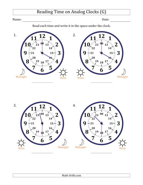 The Reading Time on 24 Hour Analog Clocks in Half Hour Intervals (Large Clocks) (G) Math Worksheet